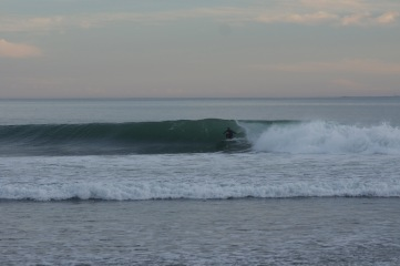 Ducking in and out of Barrels into the bay at Rincon.