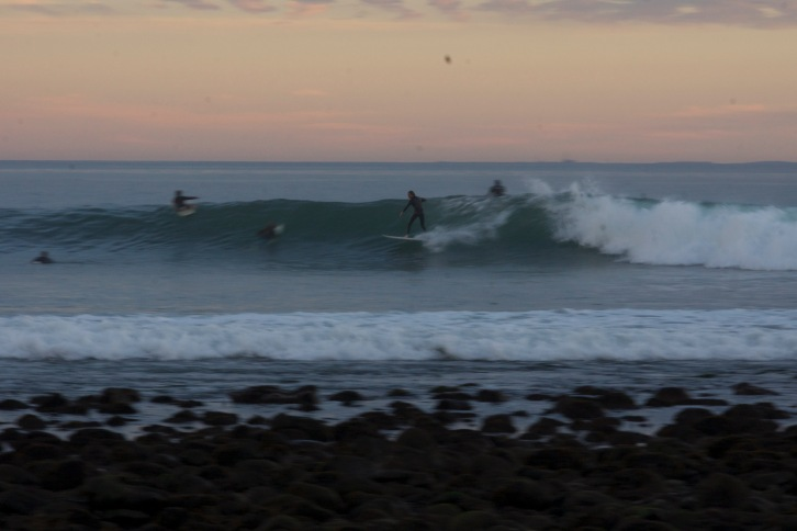 Picking up speed on a fun one at Rincon