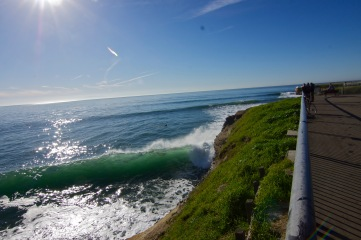 Steamer Lane, one of Santa Cruz's premier surf spots. The Cliff's are a perfect way to get close to the action.